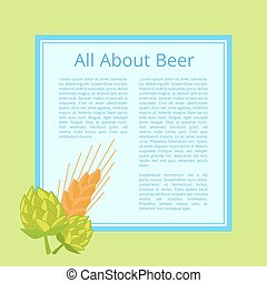 All About Beer Poster with Cabbage and Wheat Ear - All about...