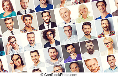 All about people. Collage of diverse multi-ethnic and mixed age people expressing different emotions