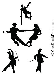 all about style - dancers in silhouette in retro style over...