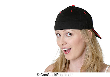 All American girl wearing baseball cap on backward