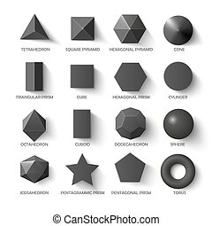 All basic 3d shapes template in dark. Realistic with shadow...