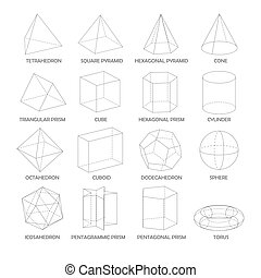 Octahedron and icosahedron three-dimensional shape. Octahedron and ...