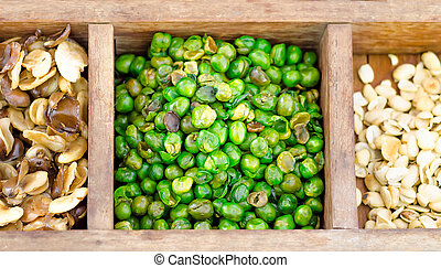 all bean on wooden box