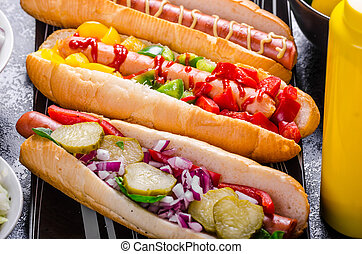 All beef dogs, variantion of hot dogs
