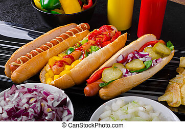 All beef dogs, variantion of hot dogs, onions, beef, garlic,...
