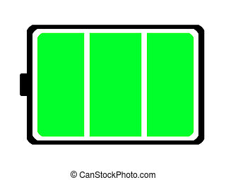 An illustration of a battery that is fully charged.