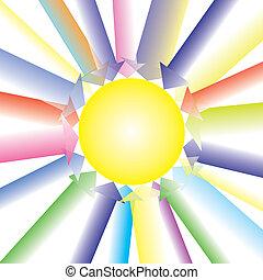 All Colorful Arrow Direct Forward Center