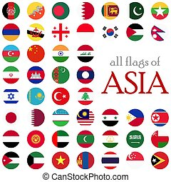 all country flags of Asia