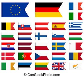 all country flags of European Union - collection of flags...