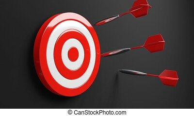 All dart arrows missed target.3d animation.
