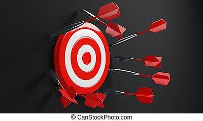 All dart arrows missed target.3d illustration.