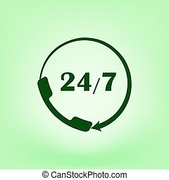 All-day customer support call-center. Flat icon