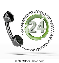All-day hours handset - 24 hours handset isolated on a white...