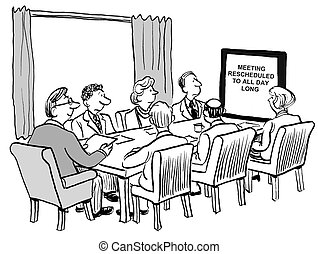 All Day Meeting - Cartoon of team business meeting that has...