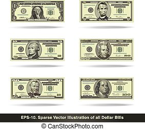 All Dollar Bills Flat - Sparse vector illustration of all...