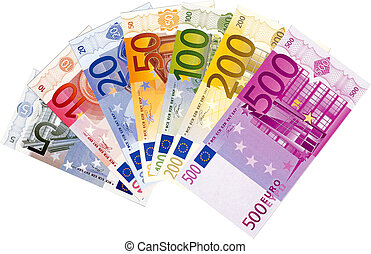 Illustration of all available euro banknotes isolated on a white background