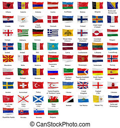 All european flag - 3d rendering of all the european flags
