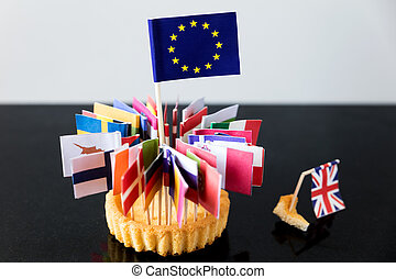all flags of european union in a cake, only a small crumb for great britain