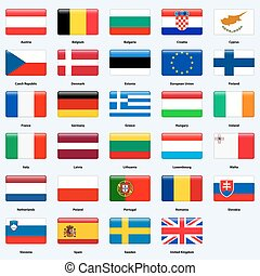 All flags of the countries of the European Union. Rectangle glossy style.