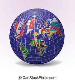 All flags of the world - All flags Globe vector Illustration...