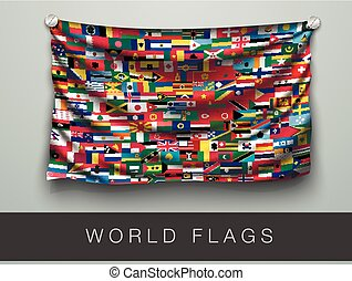 flags of the world in one flag with shadow