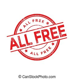 All free rubber stamp isolated on white background.