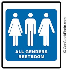 All gender restroom sign. Male, female transgender. Vector illustration.