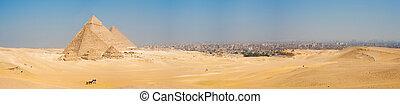 All Giza Pyramids Panorama Cairo Cityscape