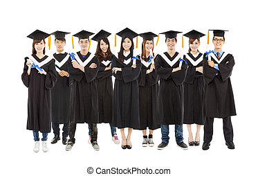 All graduation student standing a row