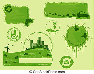 All green Grunge eco design elements
