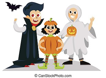 All Hallows Eve day horror party poster. Cartoon family in costumes of dracula ghost and pumpkin vector illustration. Halloween day concept. Isolated on white