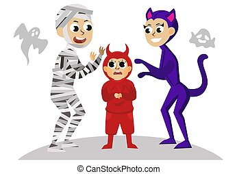 All Hallows Eve family party flat poster. Mother son and dad in horror suits of mummy devil and cat vector illustration. Happy Halloween concept. Isolated on white and ghosts on background