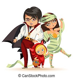 All Hallows Eve family party flat poster vector illustration. Cartoon smiling parents with daughter dressed in nice Halloween costumes of mummy dracula and devil. Isolated on white