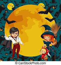 All Hallows Eve family party flat poster vector illustration. Cartoon smiling parents with daughter dressed in nice Halloween costumes of witch dracula and devil template design with promo text elements in colorful background.