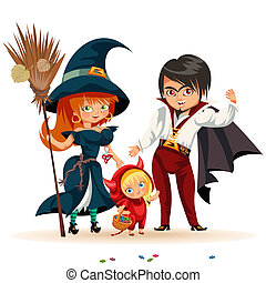All Hallows Eve family party flat poster vector illustration. Cartoon smiling parents with daughter dressed in nice Halloween costumes of witch dracula and devil. Isolated on white