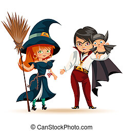 All Hallows Eve family party flat poster vector illustration. Cartoon smiling parents with daughter dressed in Halloween costumes of bat, dad dracula and mom witch, kid flittermouse mother hag father vampire