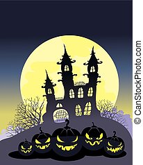 All Hallows Even, All Hallows Eve, Treat or trick, Jack's Lantern, sinister castle, sinister castle, Poster for All Saints' Day, Pumpkin All Saints' Day