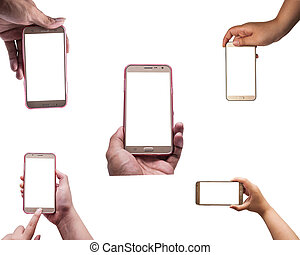 All hand with smartphone isolated, Clipping path