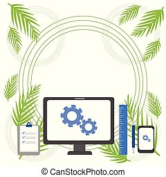All in One Flat photo Art Design of Business Concept with PC Monitor and Mobile Device in Configuration Mode, Clipboard with Check Marks, Ruler, Ballpoint Pen