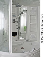 All in one shower - white shower and bath and steam bath all...