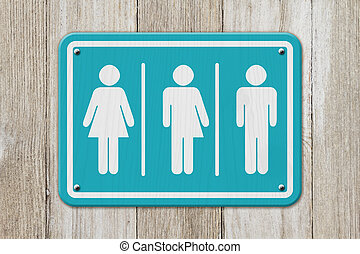 All inclusive transgender sign, Teal and white sign with a woman, a transgender and man symbol on weathered wood