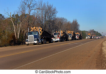 All lined up - Seven eighteen wheelers are lined up on the...
