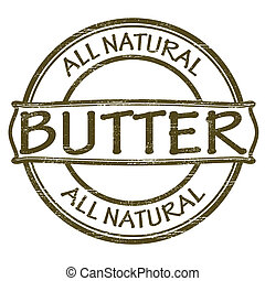 Stamp with text all natural butter inside, vector illustration
