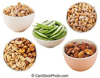 All nut, Pea, Peanut and almond isolated