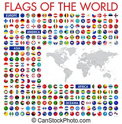 All official national flags of the world. Circular design. Vecto