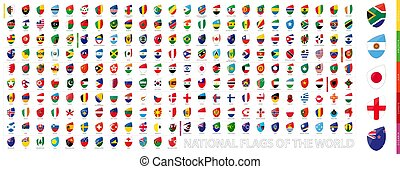 All Official National Flags of the World in Rugby Style. Big Rugby icon set.