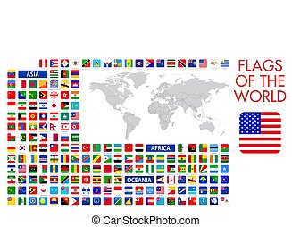 All official national flags of the world, square design, vector