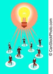 All people have a common idea. Vector illustration