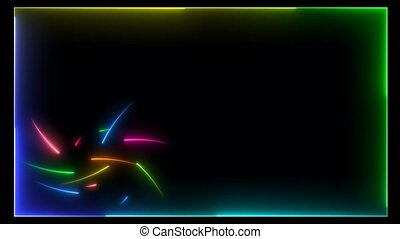 All rainbow colorful hundred neon arrows motion random and light border loop on the black screen