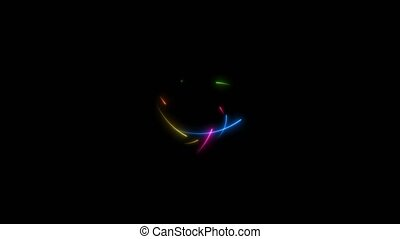 All rainbow hundred neon arrows motion random middle frame and crash seven times on the black screen